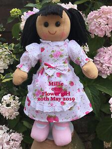 Personnalisé Fleur Fille Demoiselle D'honneur Poupée De Chiffon Cadeau De Mariage Cheveux Noir Faveur Cadeau-afficher Le Titre D'origine