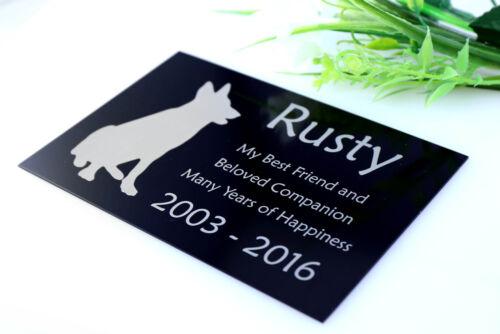 LASER ENGRAVED PLAQUE BLACK METAL PET FUNERAL MEMORIAL GRAVE MARKER SIGN
