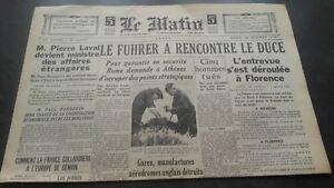 JOURNAL-LE-MATIN-MARDI-29-OCTOBRE-1940-N-20-670-ABE