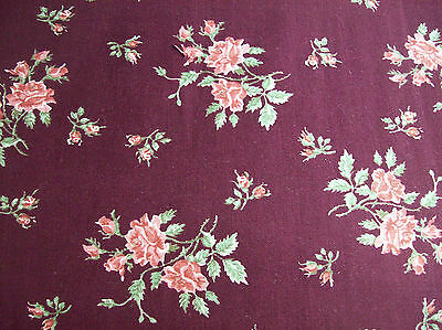 1Y VINTAGE COTTON TAN TEAL CRANBERRY RED CALICO QUILT FABRIC OOP 44W #547