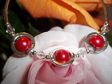 Hot Tibetan Silver Fashion Red Glass Pearl & Clear Crystal Bead Bracelet S-19