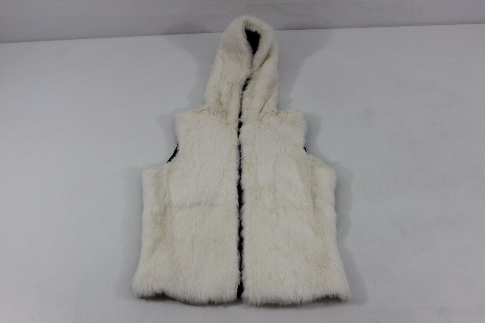 FREE SHIPPING Wilsons Womens Medium White Rabbit Fur Brown Leather Zip Up Vest
