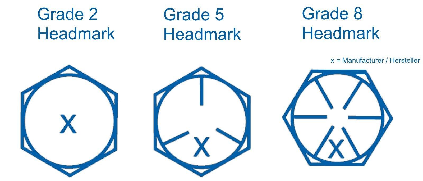 Hex Head Cap Screw Sechskantschraube 1//4-20 UNC x 2 1//2 Grd.5 verzinkt