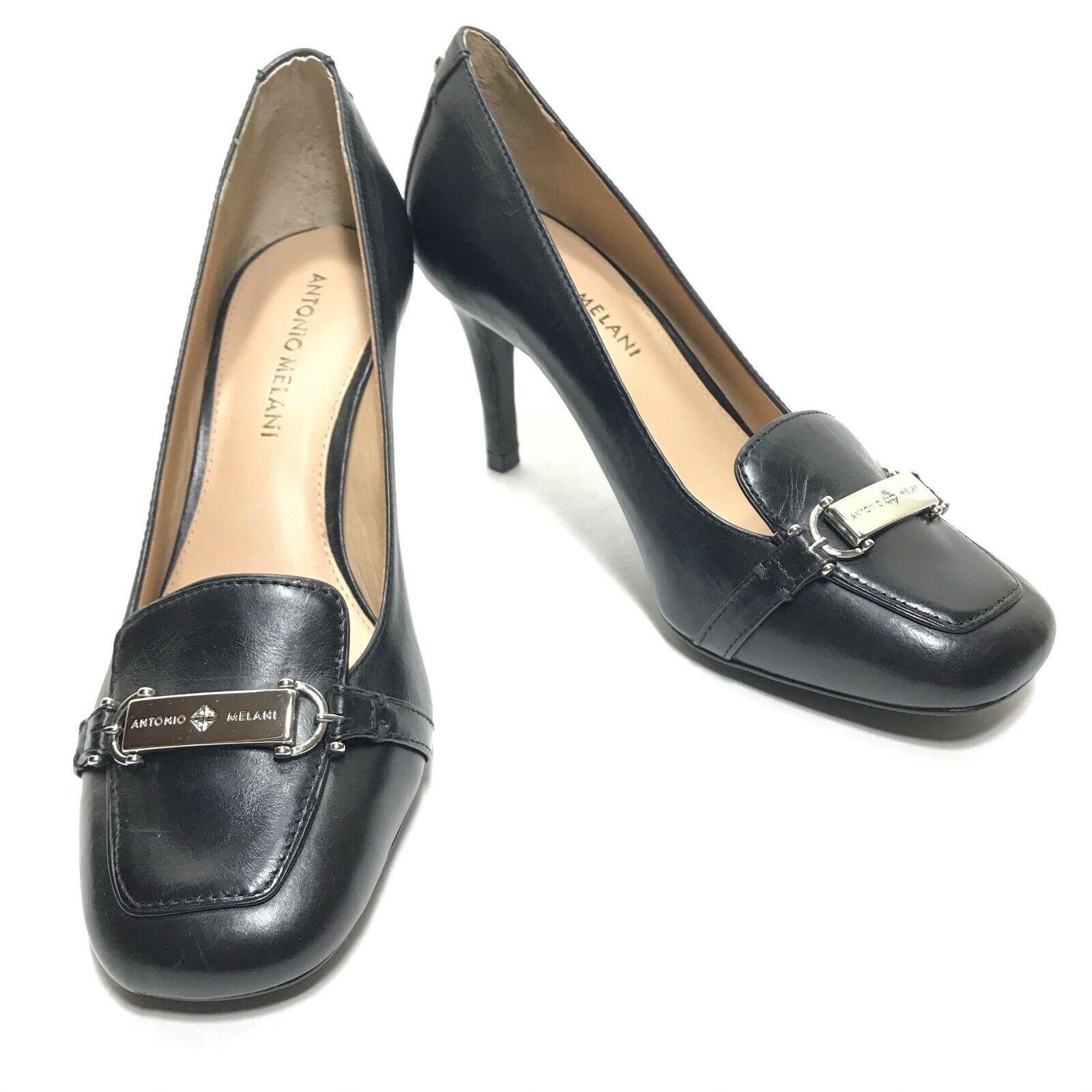 Women's Antonio Melani Black Leather Moc High Heel Pumps Size 7 M