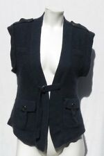 OONAGH by NANETTE LEPORE Blue Super Soft Fuzzy Cashmere Cardigan Sweater Vest S