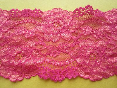 Magenta pink elastisch 8cm Breit elegante Spitze  Borte Nur 1€//1m     0084