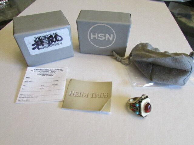 NEW HEIDI DAUS MULTI-GEMS WHITE ENAMEL RING