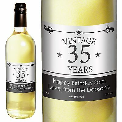Personalised White Wine Vintage Birthday - Ideal Gift For Her Or For Him