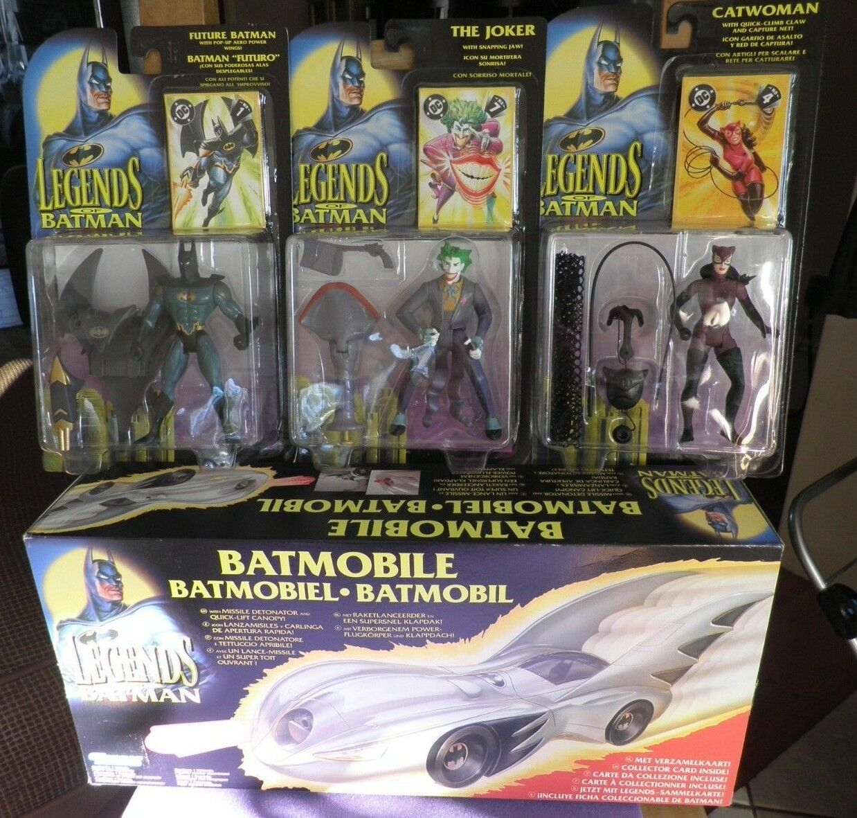 Legends Of Batman Job   Lot Batman The Joker Catwoman Batmobile New Old Stock