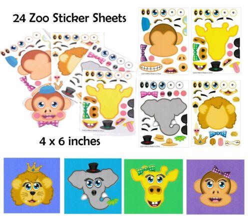Zoo 24 ~ Make-a-Zoo Sticker Sheet Jungle Party Favors Supplies /& Activities