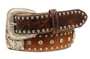 Nocona Western Mens Belt Leather Studs Diamond Conchos Brown N2487444