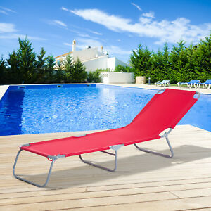 Outsunny Adjustable Camp Sleeping Bed Beach Chaise Lounge Portable Cot Red