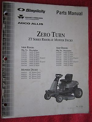 1999 Simplicity Massey Agco Allis 14hp 16hp Zero Turn Riding Mowers Parts Manual Ebay