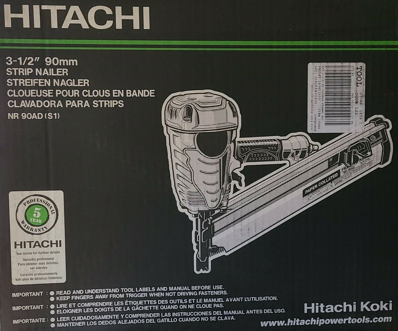 Hitachi 3-1/2 Framing Strip Naile 90mm, Pneumatic  NR90AD(S1), New. Available Now for 173.33