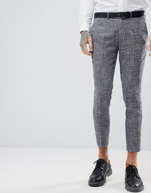 Gianni Feraud Skinny Fit Nepp Cropped Suit Trousers Size 36W 32L RRP  New