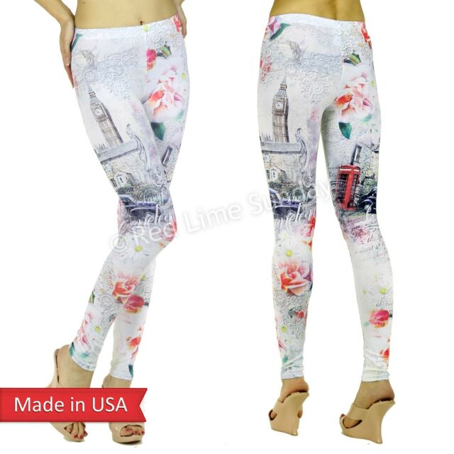 LOVE YOU Valentine Romantic London UK Chic Floral Print Leggings Tight Pants USA
