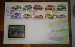 Royal-Selangor-Premier-Pewter-Stamp-FDC-2000-Malaysia-Made-Vehicles-Car-Series