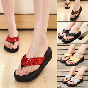 ce54cf6e2066 HOT Summer Soft Womens  Wedge Sandals Sequin Thong Flip Flops ...