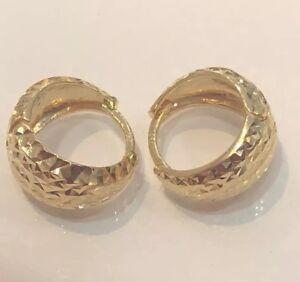 18K-Solid-Yellow-Gold-Hoop-Earrings-Diamond-Cut-3-1-Grams-Women