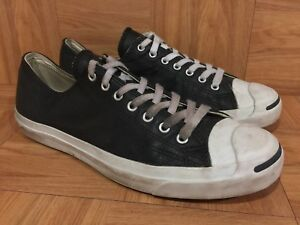 b23c8fbdd35c4 RARE🔥 Converse Jack Purcell JP OX Black Leather Fashion Sneakers Sz ...