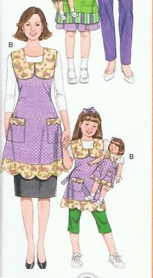 Simplicity Pattern 3746 Matching Mother Daughter /& 18 Inch Doll Aprons