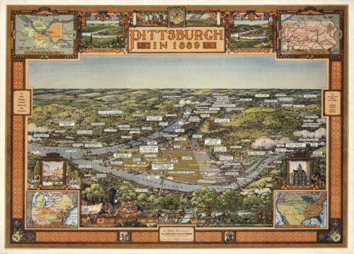 Vintage Pictorial Map Pittsburgh Pennsylvania 1889 Bird/'s Eye View Wall Poster