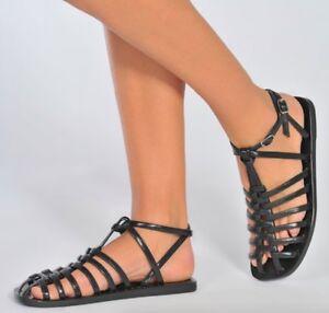 225b6bd7730 New  650 ACNE Studios Omane Black Leather Gladiator Sandal 37 6-6.5 ...