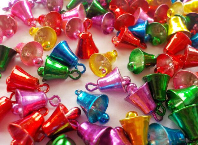 "100! Festive Metallic Jingle Bells For Christmas Crafts - Colour Mix -10mm/0.4"""