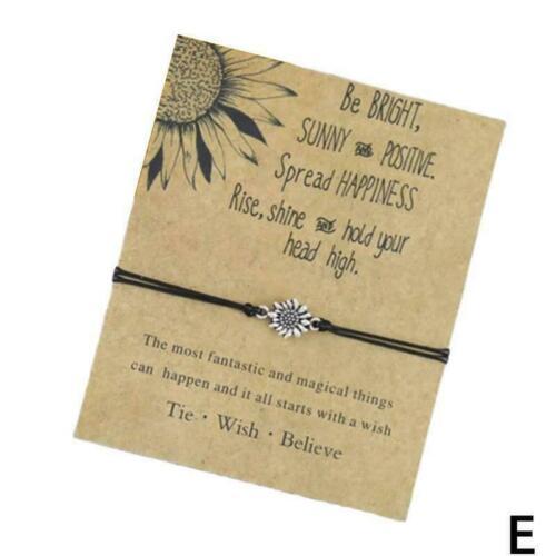 Silver Best Sister Love Bracelet Friendship Sunflower Wish Bracelets Quote X4P0
