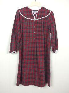 Lanz-of-Salzburg-Small-Red-Tartan-Plaid-Cotton-Flannel-Nightgown-RUNS-SMALL