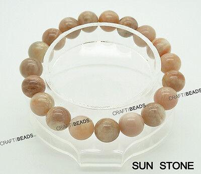 10MM - Genuine Natural Gemstone Round Beaded Elastic Stretch Bracelet BirthStone