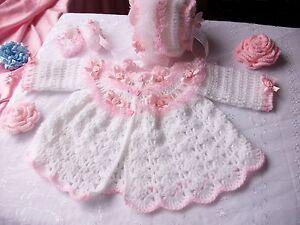 Image is loading Baby-coat-bonnet-booties-DK-crochet-pattern-Newborn- 305151e79e2