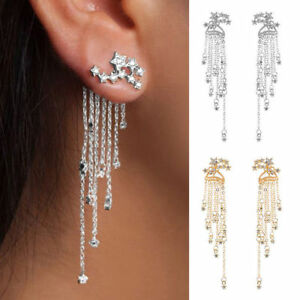 Chic-Women-Crystal-Rhinestone-Star-Long-Tassel-Drop-Dangle-Stud-Earrings-Jewelry