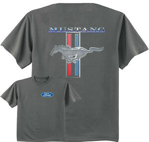 Ford Mustang stripe shirt ford pony t-shirt for men gray mustang ford racing tee
