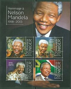 NIGER NELSON MANDELA IN MEMORIAM AND TRIBUTE SHEET OF 4 IMPERF