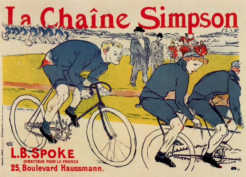 Vintage POSTER.Stylish Graphics. la Chaine Simpson Bicycle Deco Art.1861