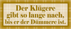Der Klügere There Is After Tin Sign Shield Arched Metal 10 X 27 CM K1688