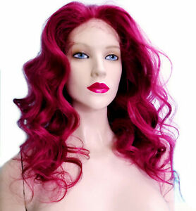 Glueless-Silk-Top-Remi-Remy-Full-Lace-Wig-Human-Hair-Indian-Burgundy-Red-Long