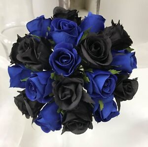 Image Is Loading Silk Wedding Bouquet Navy Blue Black Roses Pre