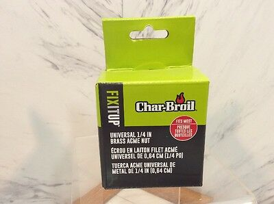 """5438384 2 x New Char-Broil Universal 1//4/"""" Brass LP Cylinder Acme Coupling Nut"""