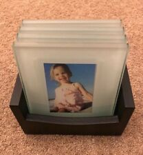 New 4pc Glass Picture Photo Frame Coasters Drinks Bottle Placemat Cup Mat UK