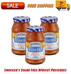 (3 Pack) Smucker's Sugar Free Apricot Preserves, 12.75 oz, Natural Flavor, Jam