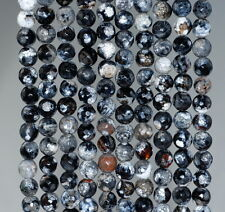 6MM  AGATE GEMSTONE ICE BLACK FACETED ROUND LOOSE BEADS 14.5""