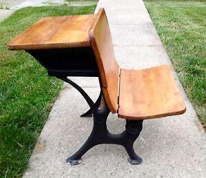 Pleasant Details About Antique School Desk Wood Top Fold Up Seat W Cast Iron Legs Circa 1900S Download Free Architecture Designs Xoliawazosbritishbridgeorg
