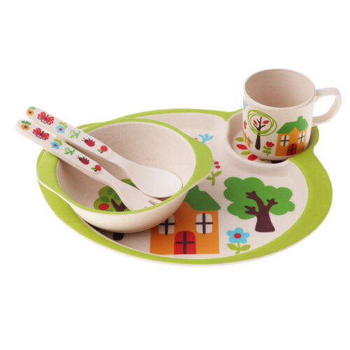 5pcs//sets Bamboo Fiber Bowl With Cup Spoon Fork Feeding Dishes for Kids Utensils