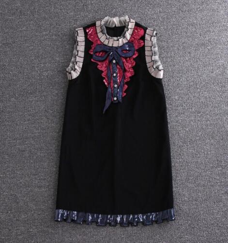 Sleeve ausschnitt Stehkragen Kurz V Sommer Pailletten Damen Kleid Boho Bowknot 6CRwWq