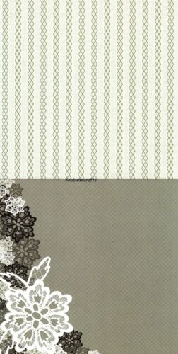 FLORAL LACE MONOCHROME Simply Creative 6 x 6 Sample Paper Pack 15 Sheets 120gsm