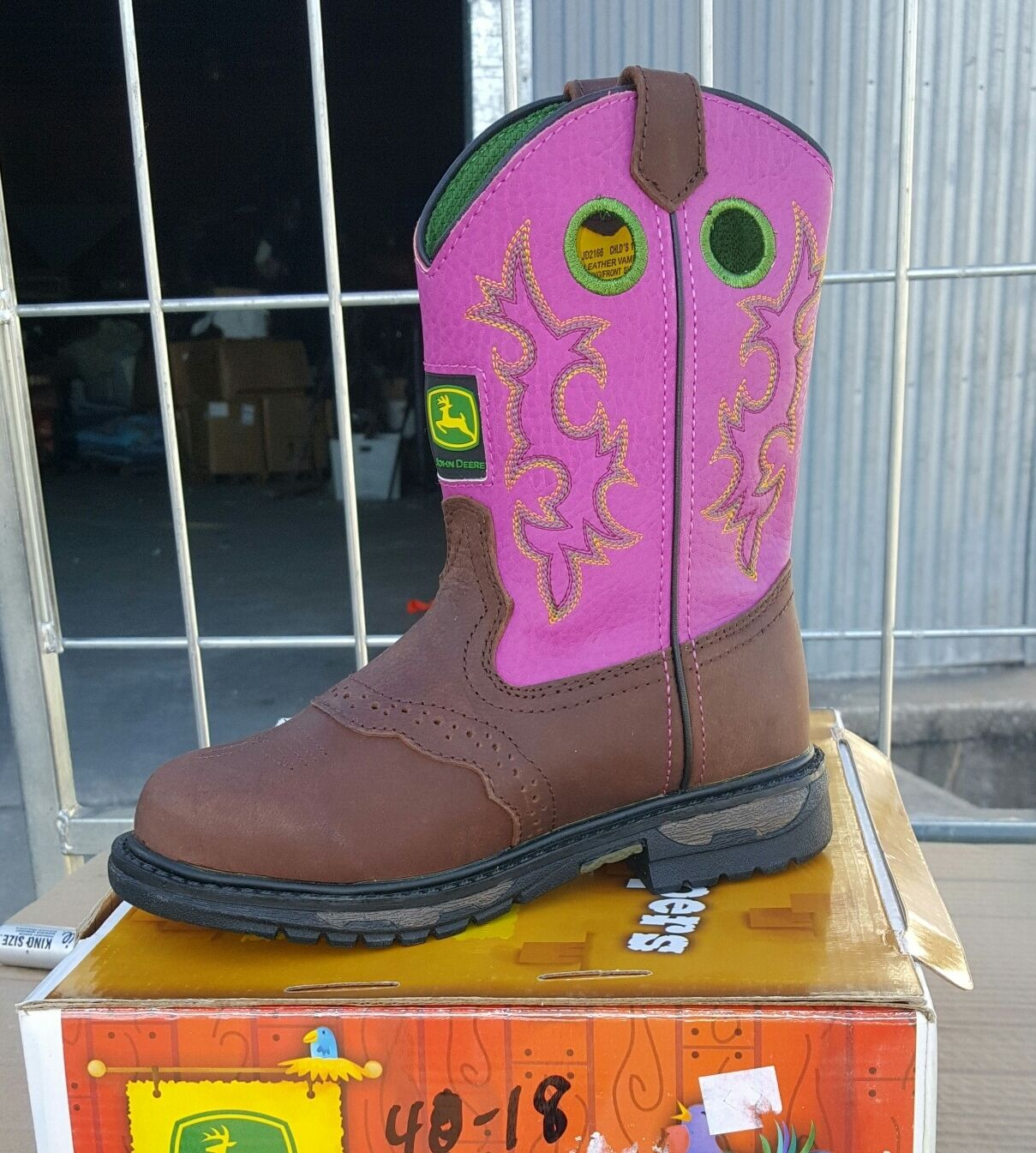40-19 New youth 2M John Deere Johnny Poppers fushia western boots was 90