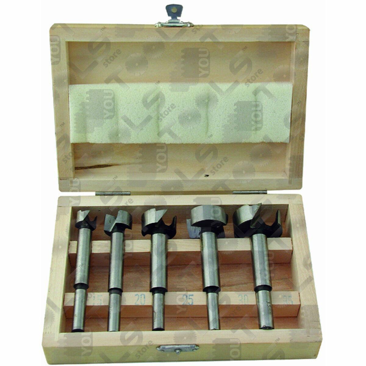 Set punte Forstner in scatola di legno - 5 diametri da Ø 15 mm a Ø 35 mm