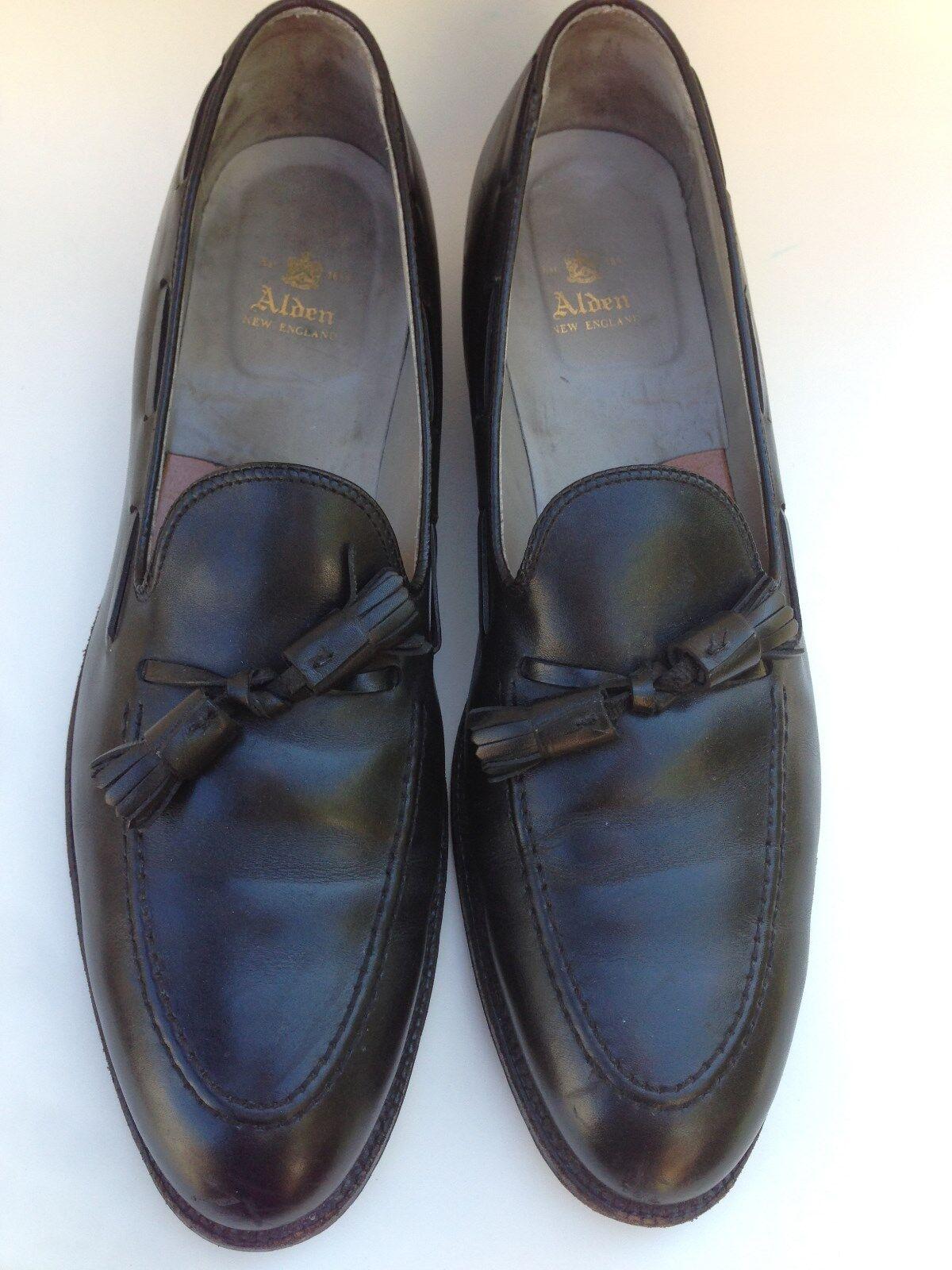 Alden 660 Nueva Inglaterra Borla Mocasín Mocasín para Hombre Zapatos Negro Cuero 14 AAAA